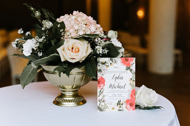 Lydia + Michael Sixpence Events day of coordinating client | Loring Social | Kate Becker Photography | Mann Frau Videography | Minted wedding stationery | compote bowl flower arrangement