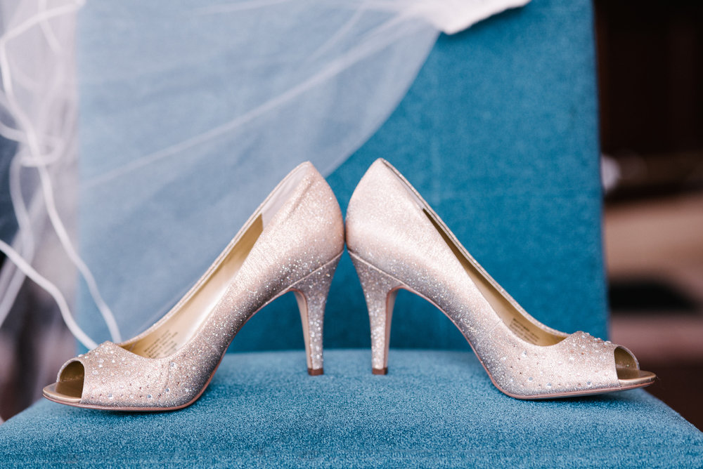 Mike + Alma | Dillinger Studios Minnesota wedding photographer | details shot with peep toe wedding shoes | Sixpence Events & Planning wedding planner