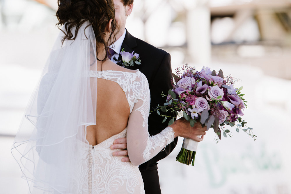 first look on the docks | purple wedding bouquet | Dillinger Studios Minneapolis Photographer | Mexican American fusion wedding | Sixpence Events & Planning Minnesota wedding planner .jpg