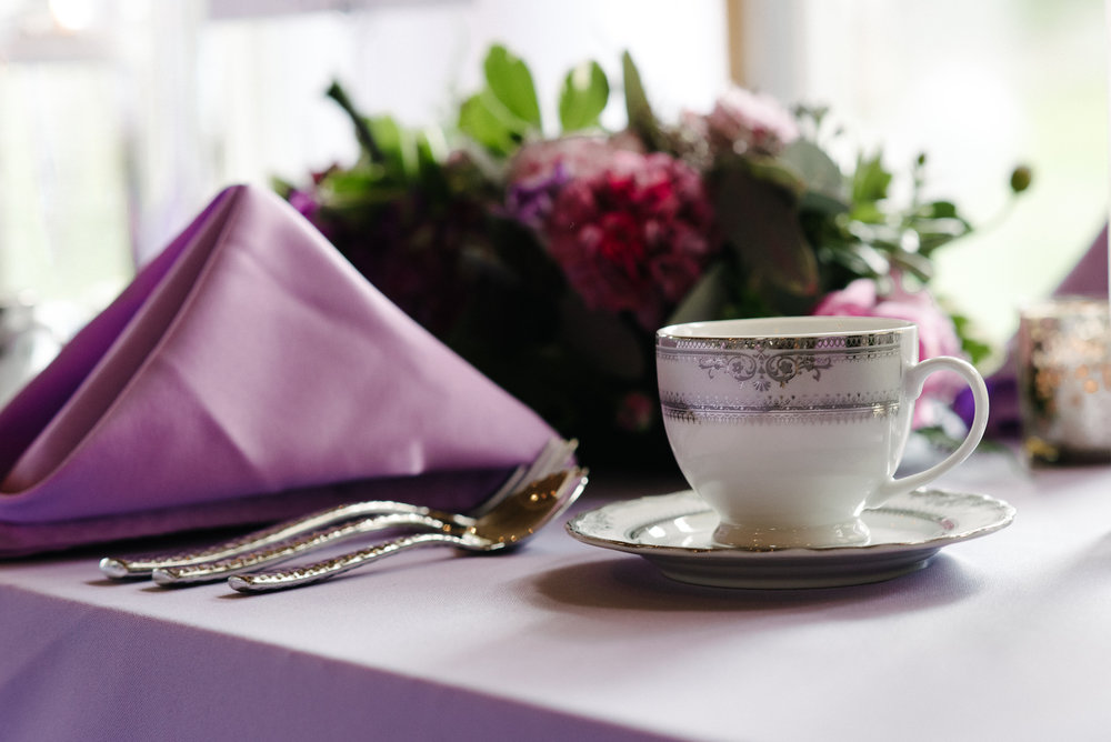 vintage wedding coffee tea cups with matching saucer | lavender napkins and table linen | Dillinger Studios Minneapolis Photographer | Mexican American fusion wedding | Sixpence Events & Planning Minnesota wedding planner .jpg