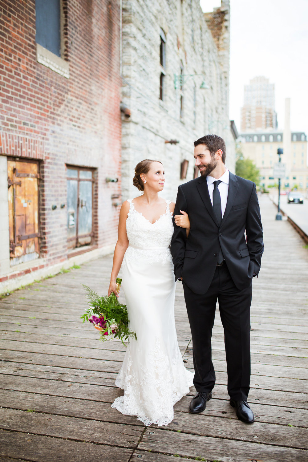 Kaylie + Travis | Sixpence Events wedding planner in the midwest | Studio KH photography | bridal and groom pictures with brick