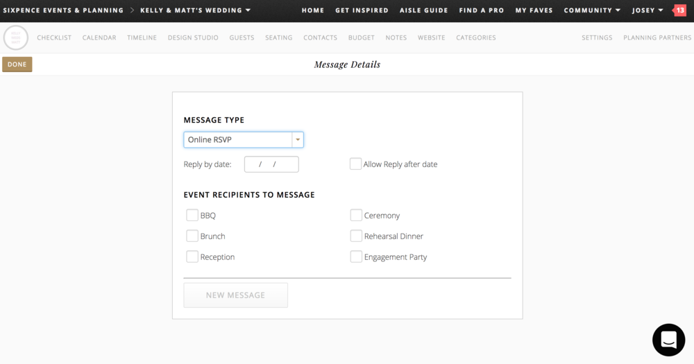 with Aisle Planner you can message wedding guests