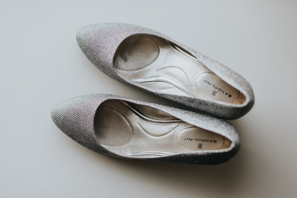 Bandolino ballet sparkle flats | Russell Heeter Photography :: Minneapolis wedding planner Sixpence Events :: Nicollet Island Pavilion :: april wedding in Minnesota.jpg