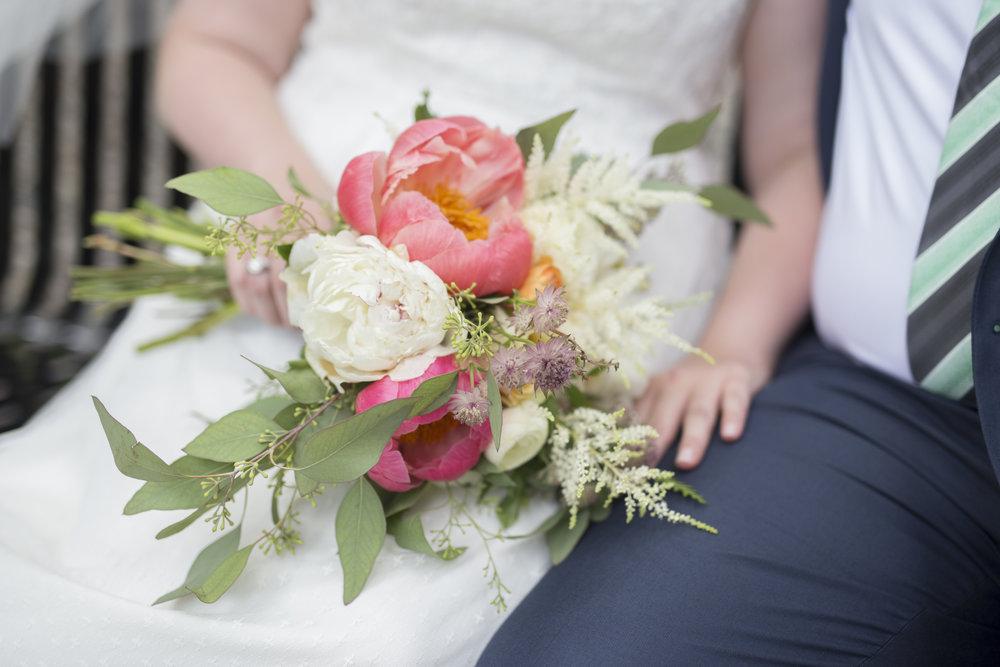 Ben Berndt wedding photographer | Scabiosa flower, astilbe, peonies, orange ranunculus, eucalyptus | Waconia, MN wedding | Sixpence Events free wedding planning advice