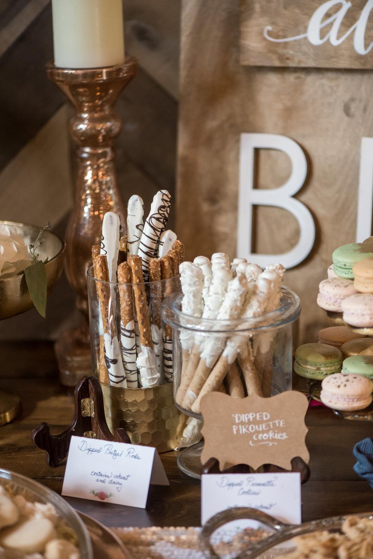 dipped pretzels dessert bar | Kelly Birch Photography :: Bloom Lake Barn :: Sixpence Events Minnesota wedding planner :: A Vintage Touch Weddings :: Brett Dorian.jpg