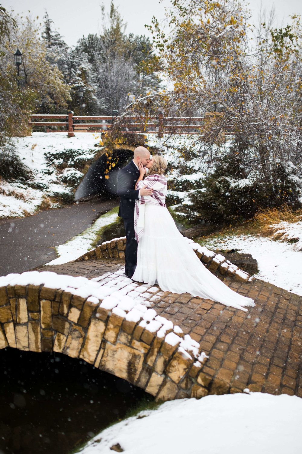 winter wedding | plaid shawl | bridge with snow | Minnesota wedding photographer Studio KH wedding dress details | wedding blog | Sixpence Events 70 Ways to Photograph Your Wedding Dress.jpg