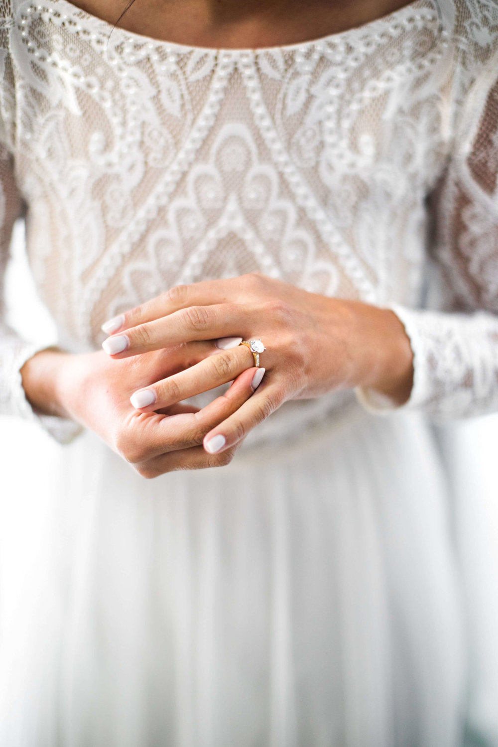 lace work long sleeve top | solitaire ring with band | Minnesota wedding photographer Studio KH wedding dress details | wedding blog | Sixpence Events 70 Ways to Photograph Your Wedding Dress.jpg