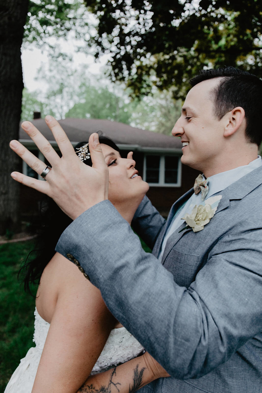 Alex + Lisi -- backyard Minnesota wedding -- Mads Lizotte photography -- Sixpence Events -- bright suit.jpg