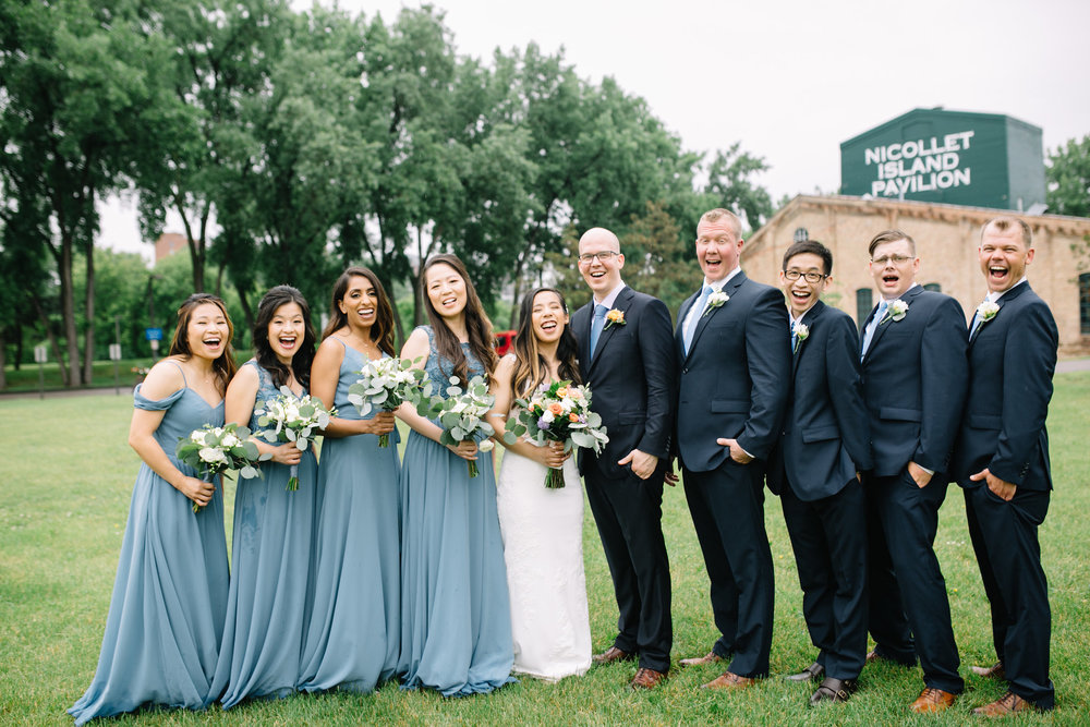 happy bridal party in dusty blue, Whims and Joy Minneapolis photographer :: Sixpence Events & Planning Minnesota wedding planner :: Nicollet Island Pavilion.jpg