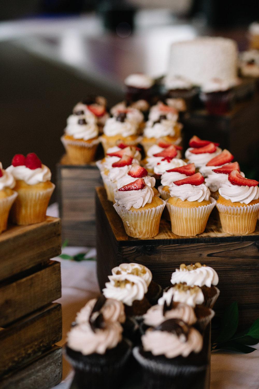 wedding cupcake setup, Whims and Joy Minneapolis photographer :: Sixpence Events & Planning Minnesota wedding planner :: Nicollet Island Pavilion.jpg