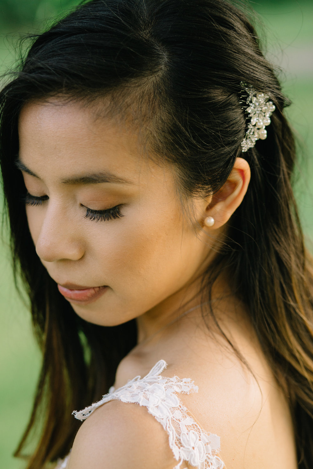 bridal portrait, hair broach, Whims and Joy Minneapolis photographer :: Sixpence Events & Planning Minnesota wedding planner :: Nicollet Island Pavilion.jpg