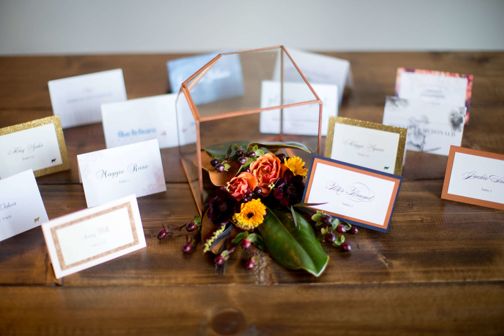 place cards and geo dome  | Krista Reynolds Photography | Sixpence Events Wedding planning | Ivory Isle Design | Studio B Floral