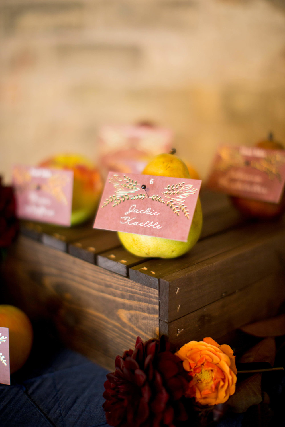 apple place card on wood crate | Krista Reynolds Photography | The Broz | Minnesota wedding planner Sixpence Events55.jpg
