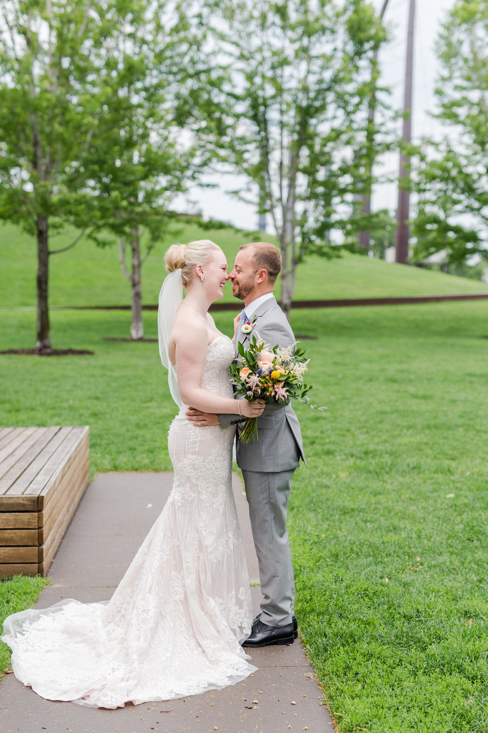 Jill + John :: Kristen Dyer :: Sixpence Events, nose touch bride and groom