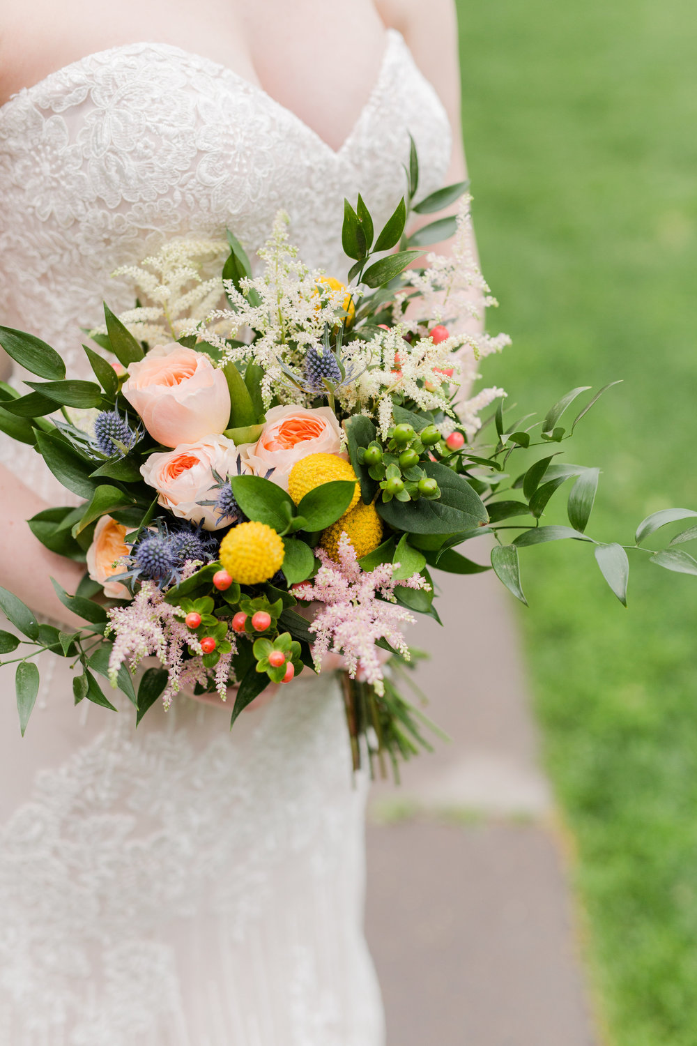 Jill + John :: Kristen Dyer :: Sixpence Events, garden rose with hypericum berry, blue thistle, italian ruscus, button mum and astilbe bridal bouquet