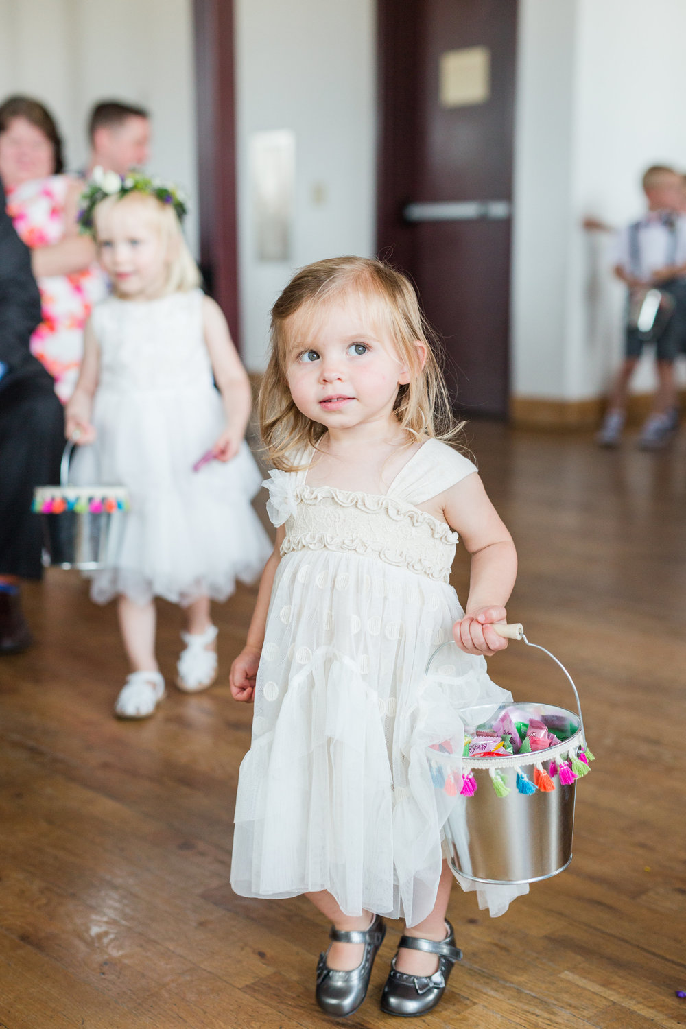 Jill + John :: Kristen Dyer :: Sixpence Events flower girl with candy baskets