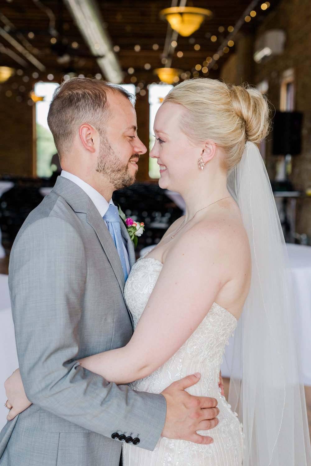 Jill + John :: Kristen Dyer :: Sixpence Events bride and groom facing each other portrait