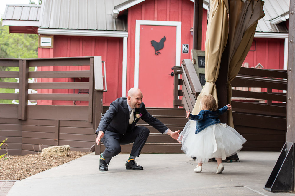 Sarah and Mark | Hope Glen Farm | Kelly Birch Photo | Sixpence Events & Planning wedding planning in Minnesota | daughter flower girl hugging dad groom