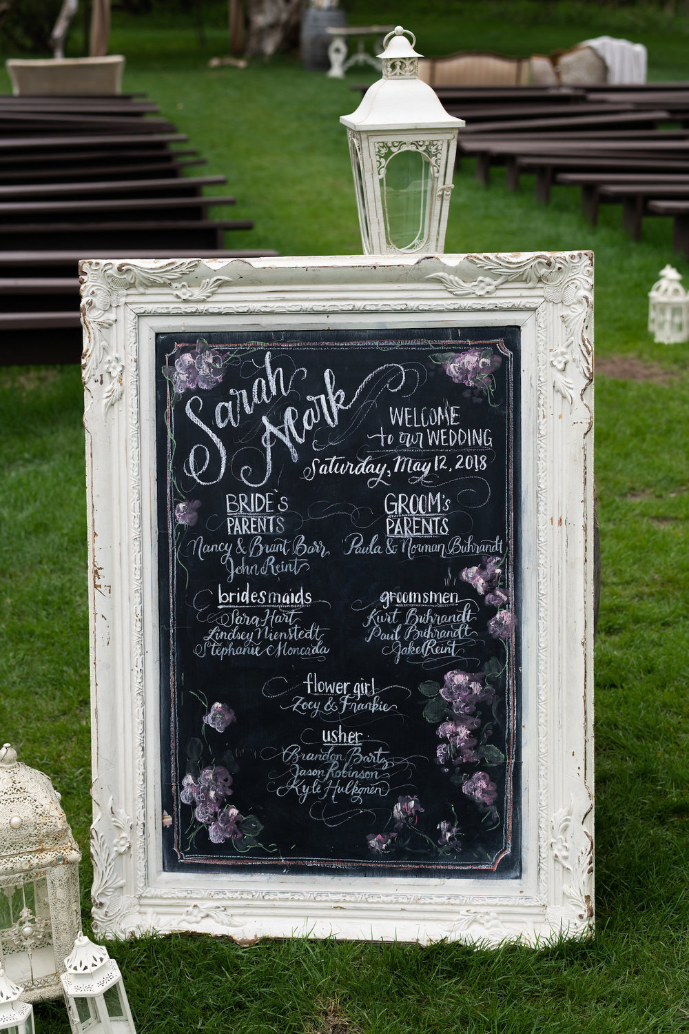 Sarah and Mark | Hope Glen Farm | Kelly Birch Photo | Sixpence Events & Planning wedding planning in Minnesota | chalk board program in calligraphy with purple flowers