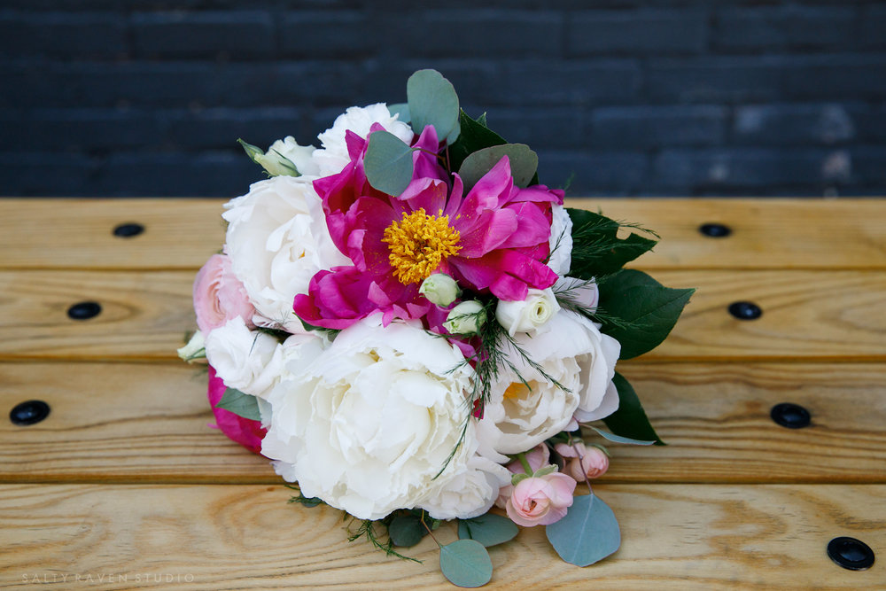 bright white and pink small bouquet with peonies | Salty Raven Photography | PAIKKA | Sixpence Events | Eleanor and Aaron's wedding.jpg