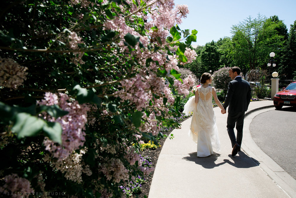 St Paul Hotel first look with the blossoms | Salty Raven Photography | PAIKKA | Sixpence Events | Eleanor and Aaron's wedding.jpg