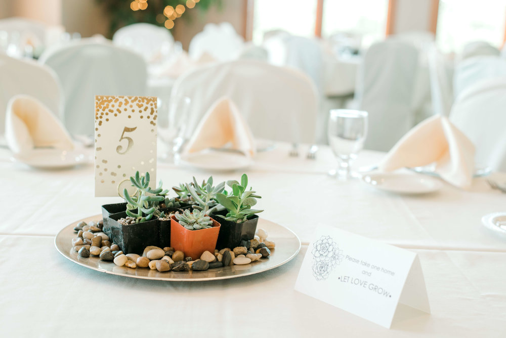 succulent centerpiece and gold foil table number | Lauren Baker Photography | Sixpence Events Blog Post: Must Have Wedding Photography Tips