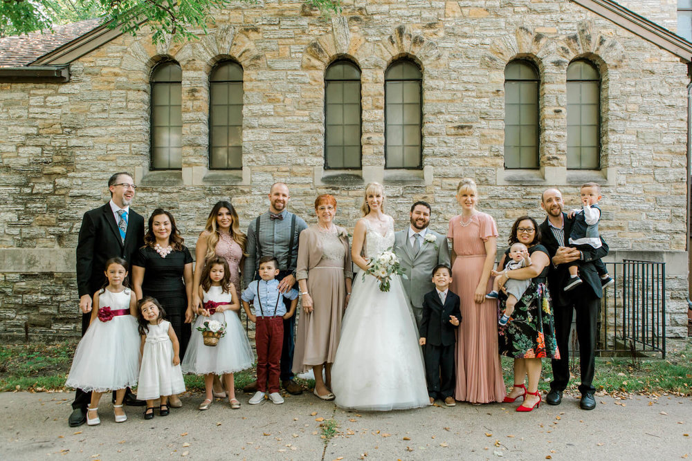 family photos in the shade but outside | Lauren Baker Photography Minneapolis wedding photographer | Sixpence Events blog post Wedding Photography Tips for brides