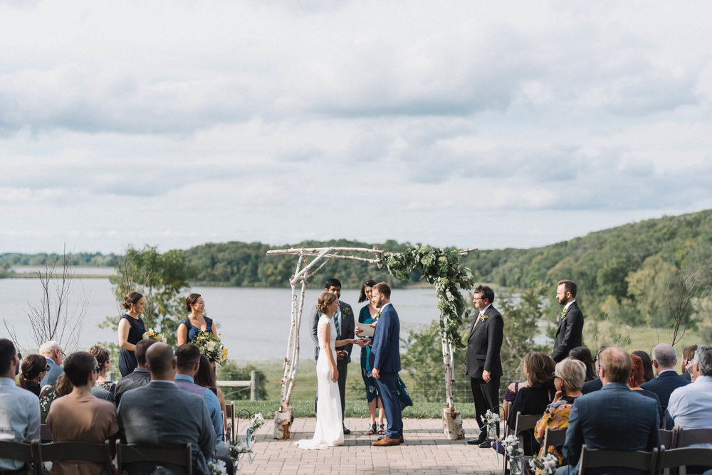 Gale Woods farm ceremony in front of the lake | Jonny and Liz Minnesota Wedding Photographers | Sixpence day of coordinating at Gale Woods farm venue near the lake.JPG