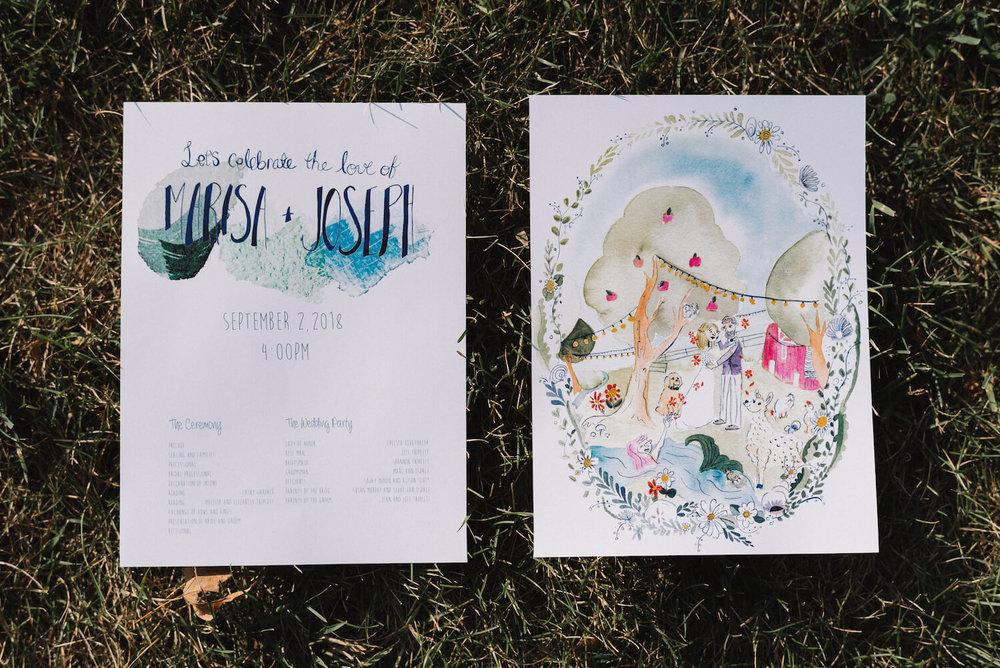 DIY wedding program with art on the back | Jonny and Liz Minnesota Wedding Photographers | Sixpence day of coordinating at Gale Woods farm venue near the lake.JPG