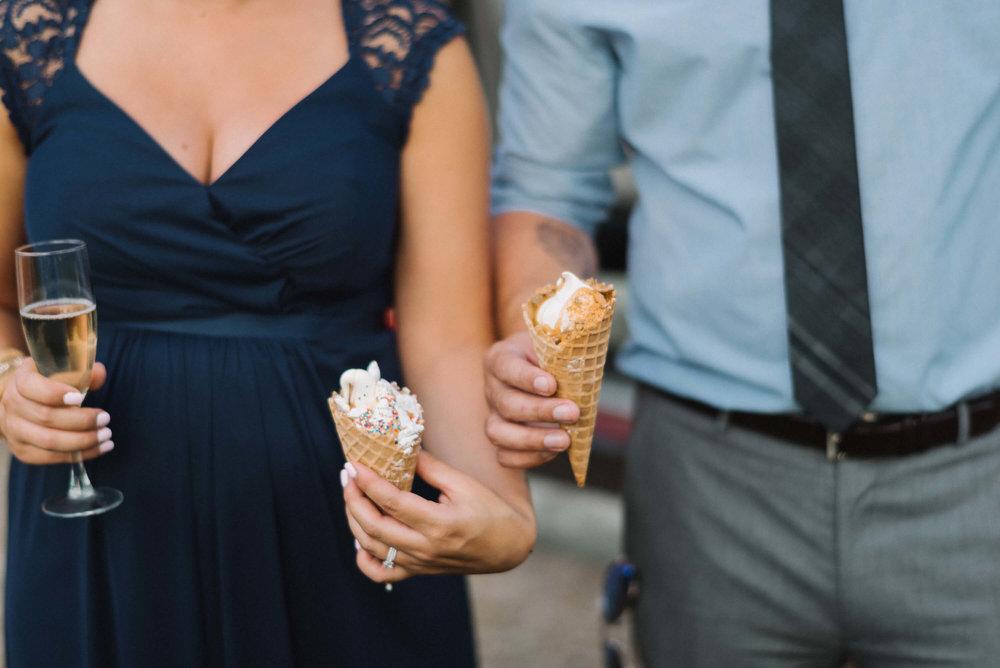 MN Nicecream truck cones at wedding | Jonny and Liz Minnesota Wedding Photographers | Sixpence day of coordinating at Gale Woods farm venue near the lake.JPG