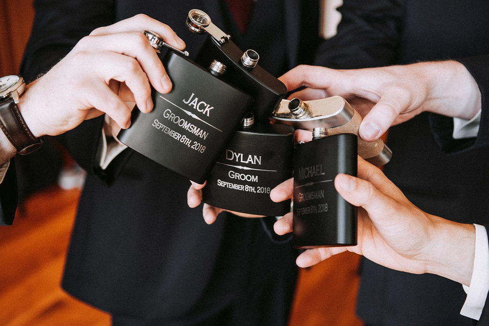 personalized groomsmen flasks | Asher Marie Photography | Minneapolis day of coordinator | Muse wedding downtown.jpg