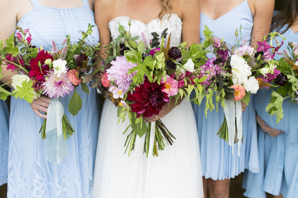 Lady Fern Flowers | local florist in Minneapolis | why you should hire a small florist | bridesmaids in dusty blue with bright summer bouquet and local fresh flowers