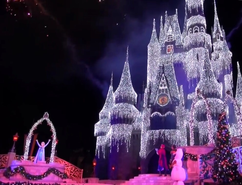 Elsa ices over Cinderella's Castle