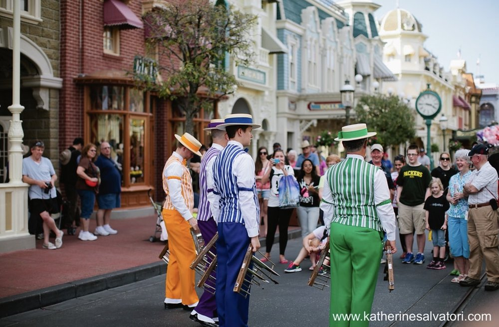 Dapper Dans singing to guests on Main Street U.S.A.