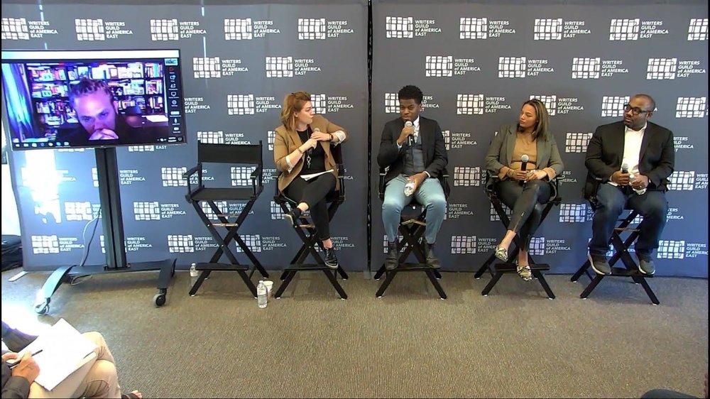 (Pictured, from left: Franklin Leonard, The Black List (via Skype); moderator Shannon Walker, Tamir Muhammad, Time Warner; Darcy Heusel, Neon; Loren Hammonds, Tribeca Film Festival)