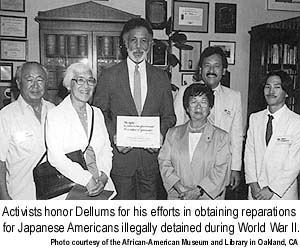 Activists honor Ron Dellums for his efforts in obtaining reparations for Japanese Americans illegally detained during WWII