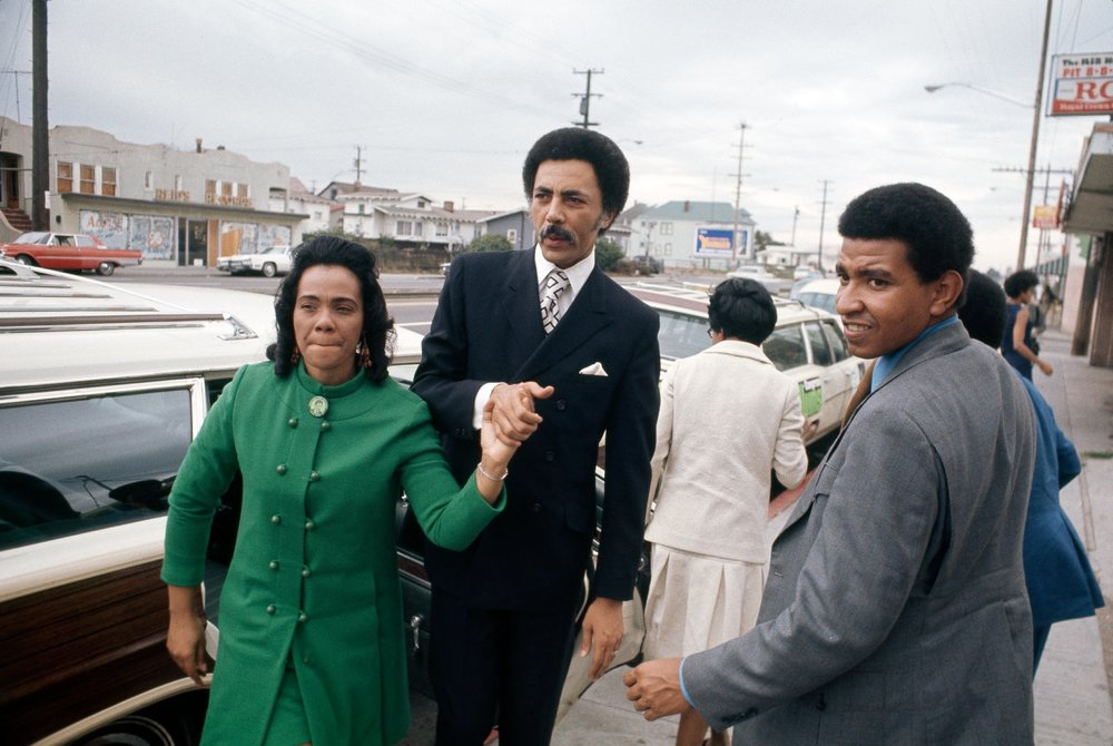 Ron Dellums & Coretta Scott King arrive at a Dellums for Congress campaign event.