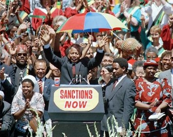 Nelson Mandela on his visit to Oakland, CA in 1990.