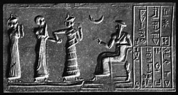 "Ur-Nammu (seated) bestows governorship on Ḫašḫamer,ensi of Iškun-Sin (cylinder seal impression, ca. 2100 BC). From Wikipedia, ""Code of Ur-Nammu."""