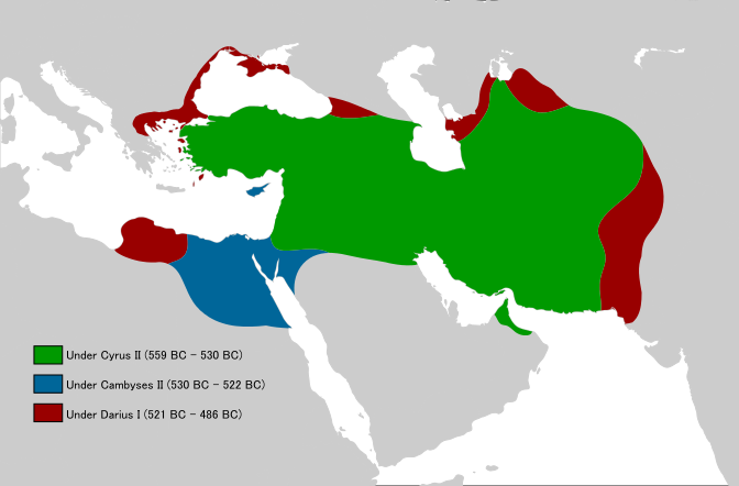The scope of the Achaemenid Empire: in green Cyrus II (559-530 BC), in blue Cambyses II (530-522 BC), and in crimson Darius I (521-486 BC).