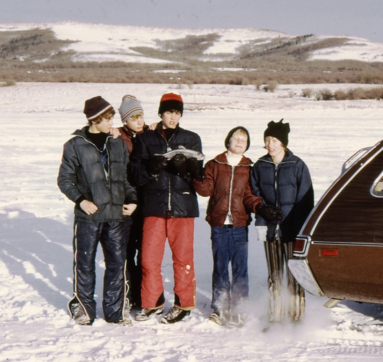Ice-fishing on the Chain Lakes, Alberta. I'm apparently giving thanks for our catch ...