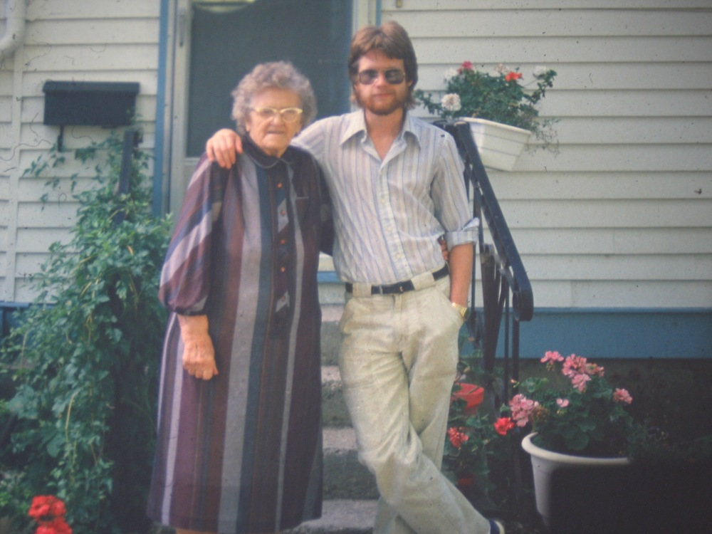 In Carlyle, Saskatchewan, with my mother's mother in 1984. She lived to be 99 years old.