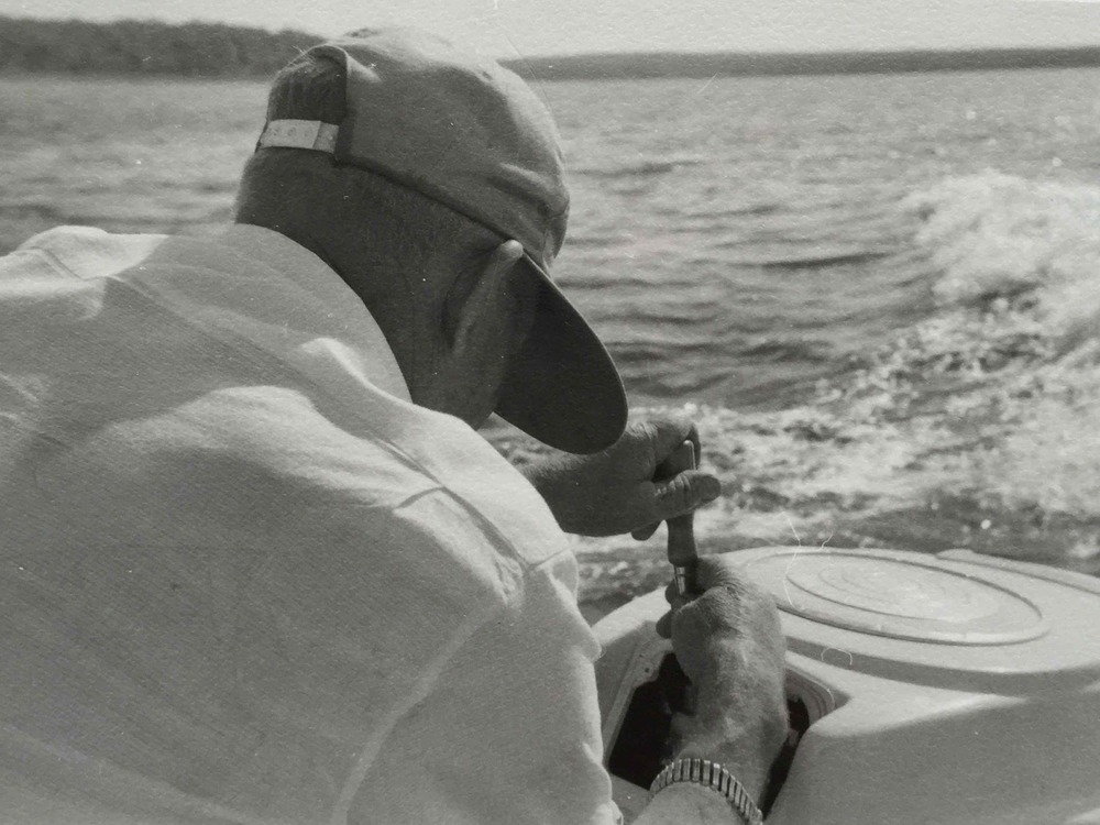 My mother's father on Carlyle Lake, where we went most summers in the 60s.