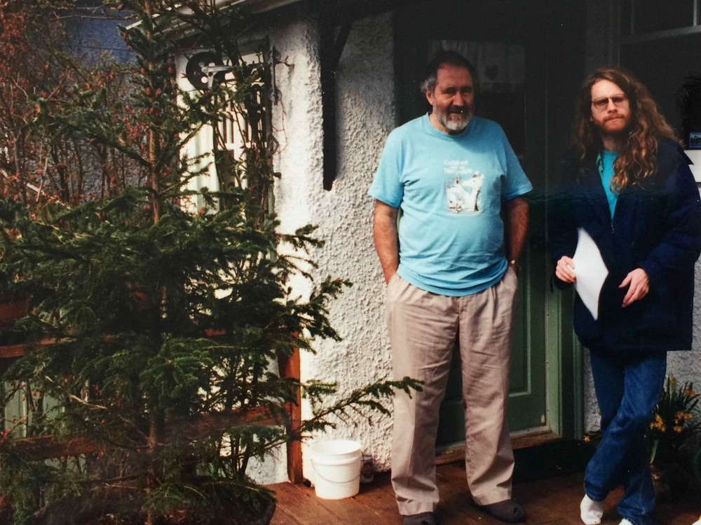 With my Ph.D supervisor, Ron Hatch, on his back porch. Our sessions would begin with a couple of his fine, home-brewed ales. My hair was scandalously long — and curly too!