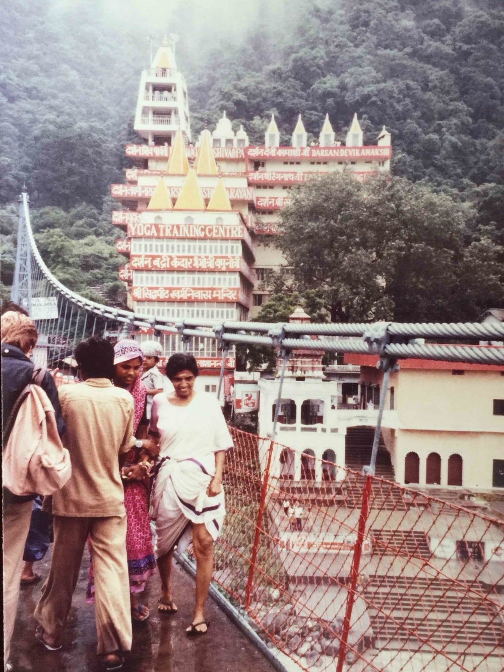 Crossing a foot bridge over the Ganges, Rishikesh, India, 1980.