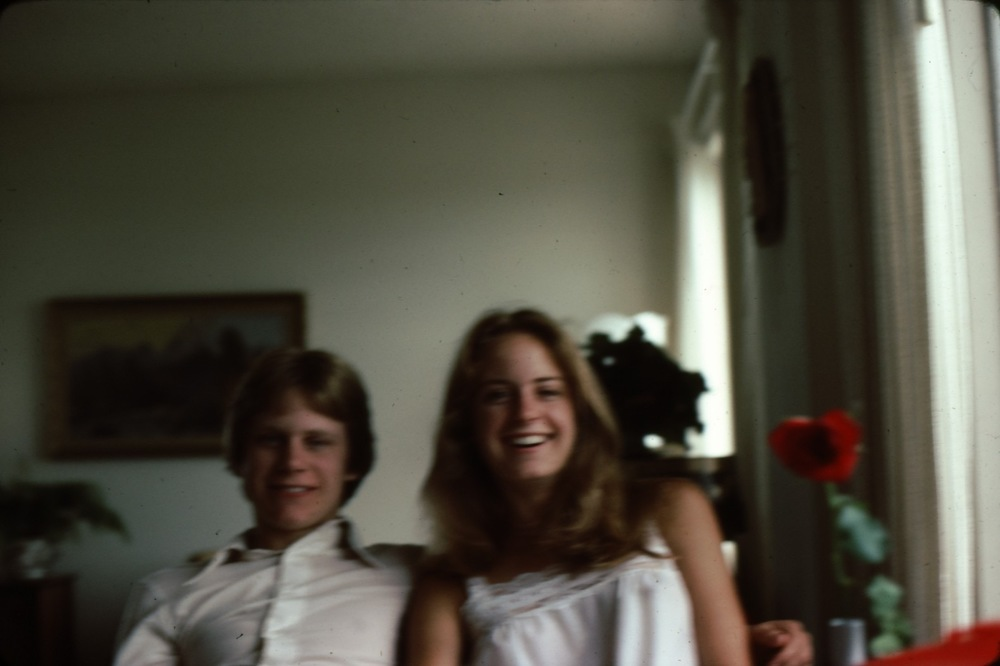 With Brenda at my grandma's apartment in Edmonton, c.1980. Brenda was doing her B.F.A. there; I often came up for badminton tournaments.