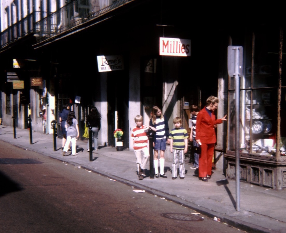 The French Quarter in New Orleans, 1971. I think my parents dressed us like that so they wouldn't lose us. I'm Waldo.