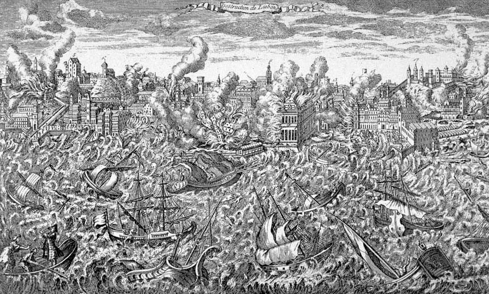 1755 copper engraving showing Lisbon in flames and a tsunami overwhelming the ships in the harbour (from Wikipedia)