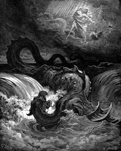 "Destruction of Leviathan , Gustave Doré, 1864. Also from Wikipedia (""Leviathan""): ""Sea serpents figure prominently in the mythology of the Ancient Near East. They are attested by the 3rd millennium BCE in Sumerian iconography depicting the god Ninurta overcoming a seven-headed serpent. It was common for Near Eastern religions to include a  Chaoskampf : a cosmic battle between a sea monster representing the forces of chaos and a creator god or culture hero who imposes order by force."""