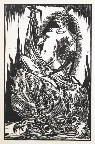 The Whore of Babylon , by Bruno Goldschmitt (woodcut, 1923)